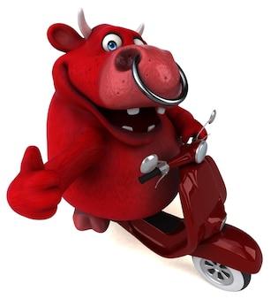 Divertente toro rosso - 3d illustration