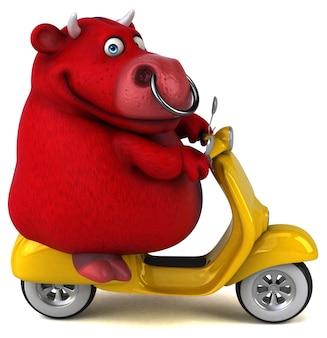 Divertente red bull 3d'illustrazione