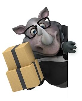 Rinoceronte divertente - illustrazione 3d