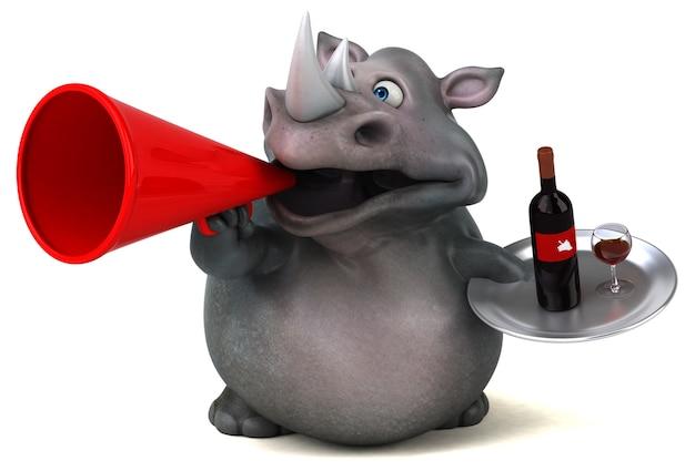 Illustrazione divertente del rinoceronte