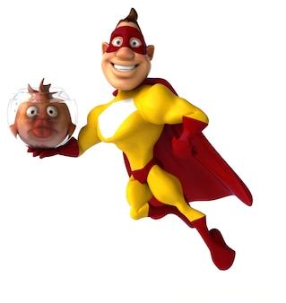 Divertente illustrazione del supereroe