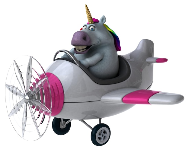 Unicorno divertente - illustrazione 3d