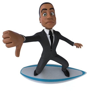 Uomo di affari del fumetto 3d divertente surf