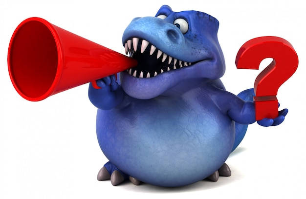 Carattere divertente del dinosauro 3d che tiene un megafono e un punto interrogativo