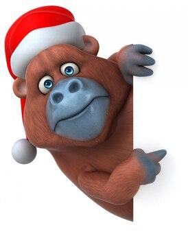 Personaggio divertente gorilla 3d che indossa un cappello di natale