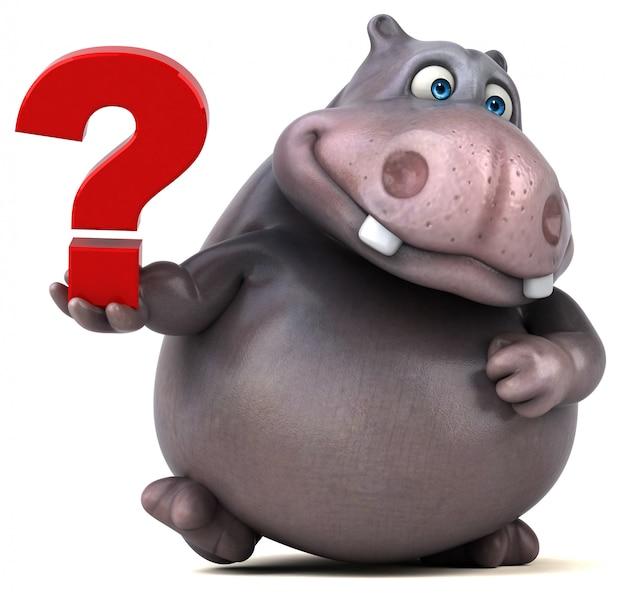 Personaggio divertente ippopotamo 3d in possesso di un punto interrogativo