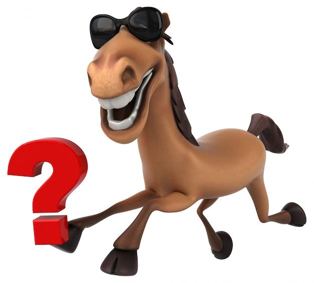 Carattere divertente del cavallo 3d che tiene un punto interrogativo