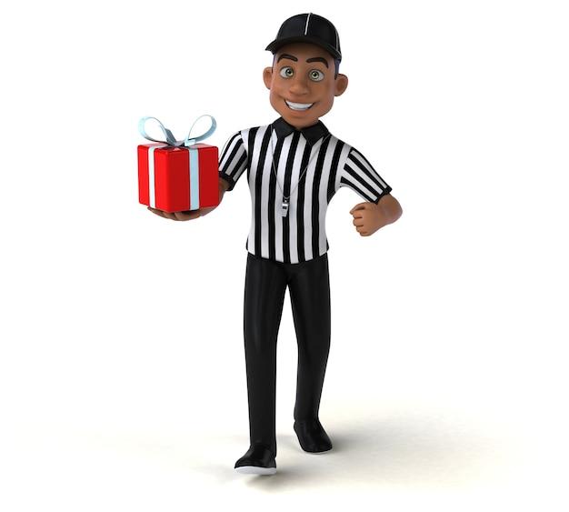 Divertente illustrazione 3d di un arbitro americano