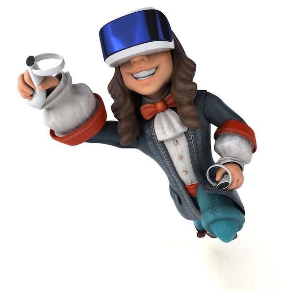 Divertente illustrazione 3d di un gentiluomo barocco con un casco vr