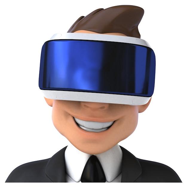 Divertente illustrazione 3d di un uomo d'affari del fumetto con un casco vr