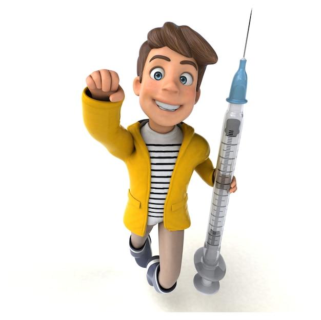 Divertente illustrazione 3d di un bambino cartone animato con attrezzi da pioggia
