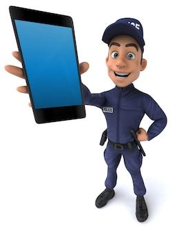 Divertente illustrazione 3d di un ufficiale di polizia del fumetto