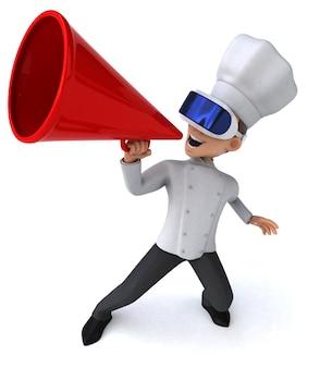Divertente illustrazione 3d di uno chef con un casco vr
