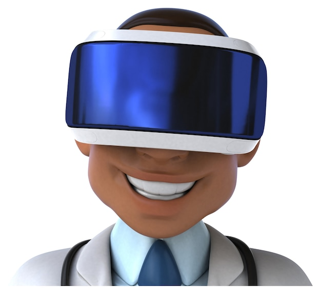 Divertente illustrazione 3d di un medico con un casco vr