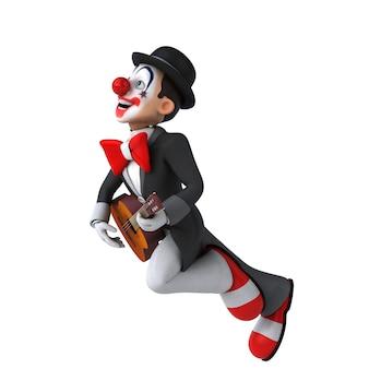 Divertente illustrazione 3d di un divertente clown