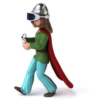 Divertente illustrazione 3d di una gallia con un casco vr