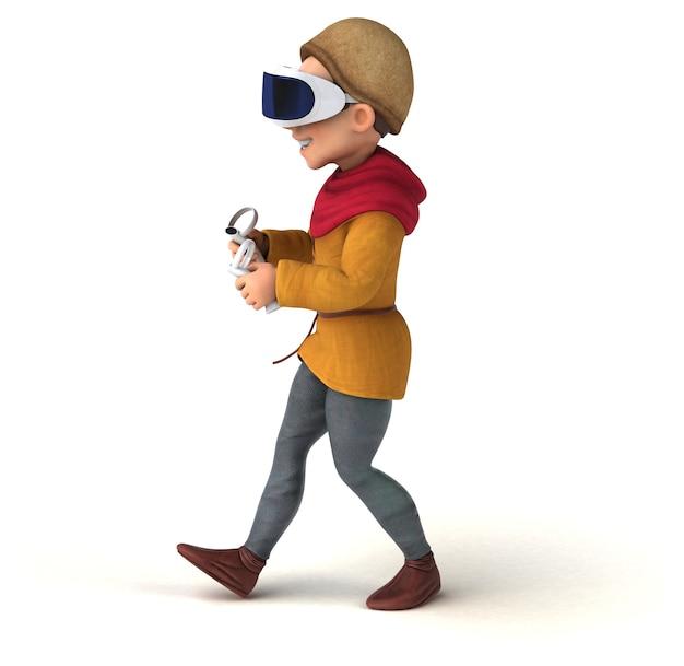 Divertente illustrazione 3d di un uomo medievale con un casco vr