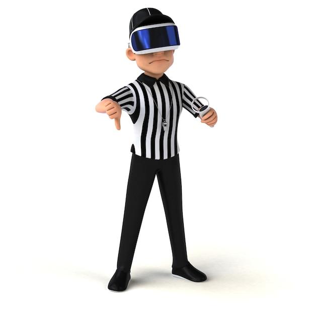 Divertente illustrazione 3d di un arbitro con un casco vr