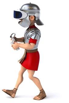 Divertente illustrazione 3d di un soldato romano con un casco vr