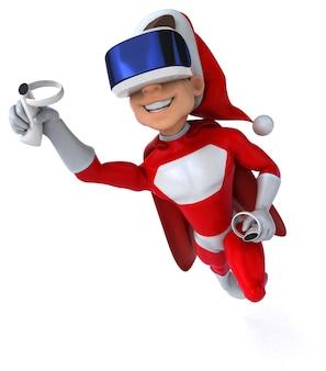 Divertente illustrazione 3d di un super babbo natale con un casco vr