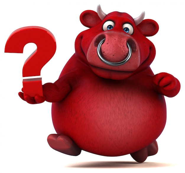 Toro rosso divertente 3d che tiene un punto interrogativo