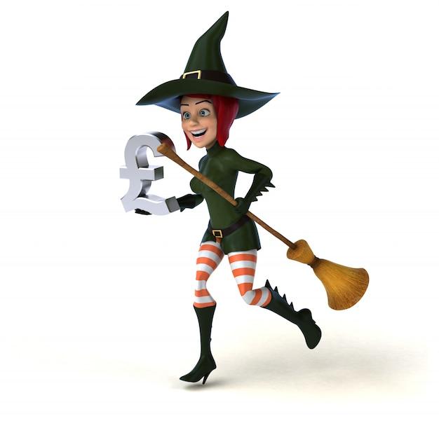 Personaggio divertente della strega 3d che tiene una scopa e un'icona di libbra