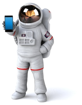 Illustrazione 3d divertente dell'astronauta