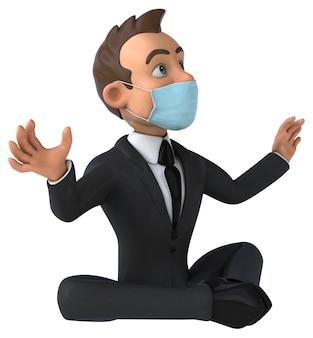 Carattere dell'uomo d'affari divertente del fumetto con una maschera