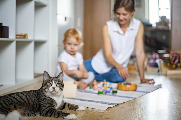 Gatto divertente che rilassa la madre e il piccolo bambino che giocano insieme studio personale del metodo montessori del bambino