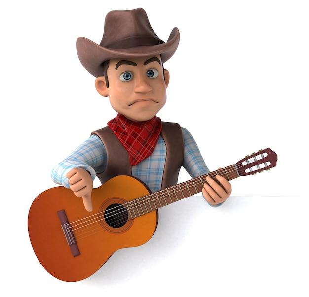 Illustrazione 3d divertente del cowboy