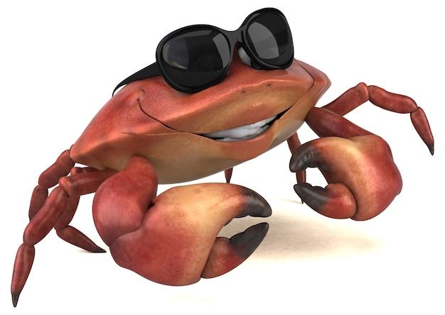 Illustrazione 3d di granchio divertente