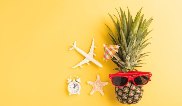 Ananas fresco divertente in occhiali da sole con aereo modello e stelle marine