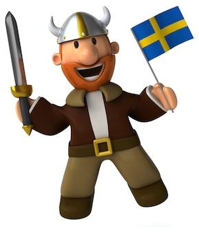 Divertente illustrato vichingo che tiene una bandiera