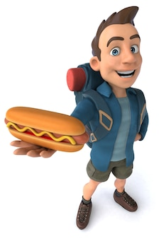 Illustrazione divertente di un viaggiatore con zaino e sacco a pelo del fumetto 3d con hot dog