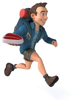 Illustrazione divertente di un viaggiatore con zaino e sacco a pelo del fumetto 3d