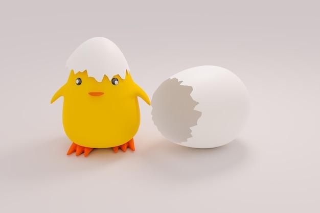 Divertente piccolo pollo appena nato, animale divertente, rendering di illustrazioni 3d