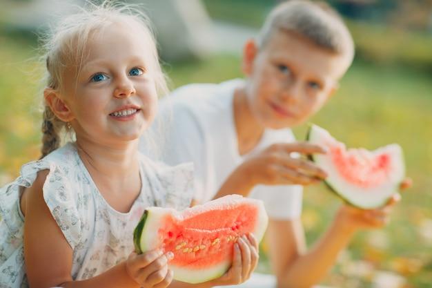 Divertenti bambini piccoli fratello e sorella che mangiano anguria nel parco felice ragazzo e ragazza insieme infanzia famiglia dieta sana concept
