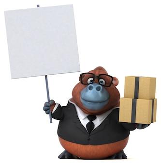 Illustrazione 3d di orang outan divertente