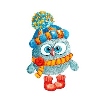 Gufo divertente in un cappello lavorato a maglia con un pompon e una sciarpa su bianco