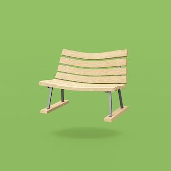 Panca in legno divertente su sfondo verde