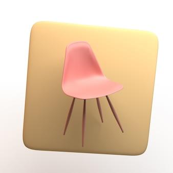 Icona di mobili con sedia isolato su priorità bassa bianca. app. illustrazione 3d.