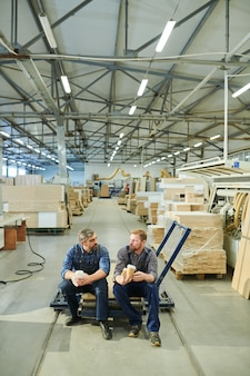 Lavoratori di mobili che riposano in pausa