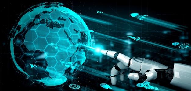 Robot e cyborg di intelligenza artificiale del futuro.