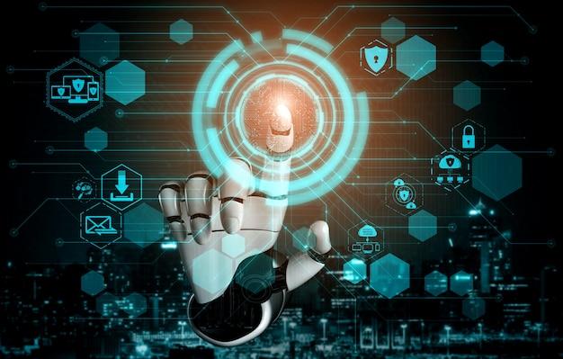 Futuro robot e cyborg di intelligenza artificiale. Foto Premium