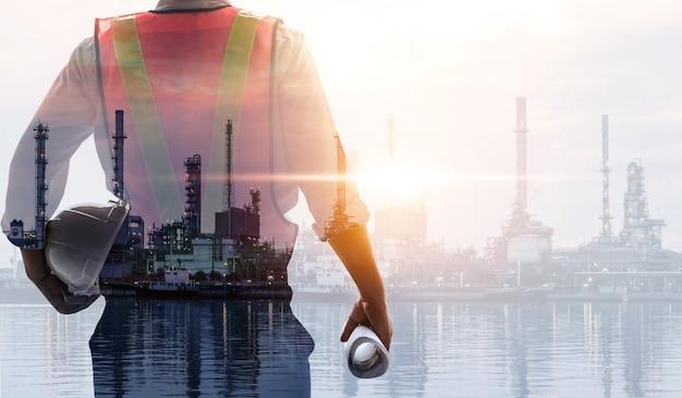 Futuro impianto di fabbrica e concetto di industria energetica.
