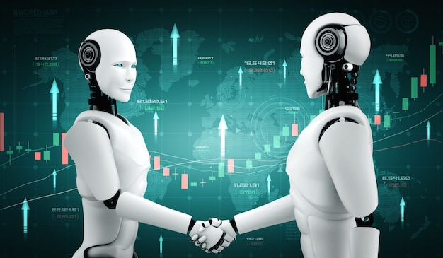Tecnologia finanziaria del futuro controllata da robot ai che utilizza l'apprendimento automatico