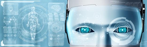 Tecnologia medica futura controllata dal robot ai che utilizza l'apprendimento automatico e l'intelligenza artificiale per analizzare la salute delle persone e fornire consigli sulle decisioni in merito al trattamento sanitario. illustrazione 3d.