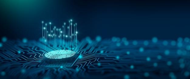 Tecnologia di sicurezza futura la scansione delle impronte digitali fornisce l'accesso di sicurezza in dof