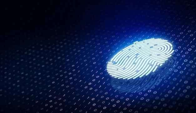 Tecnologia di sicurezza futura la scansione delle impronte digitali fornisce l'accesso di sicurezza con codice binario