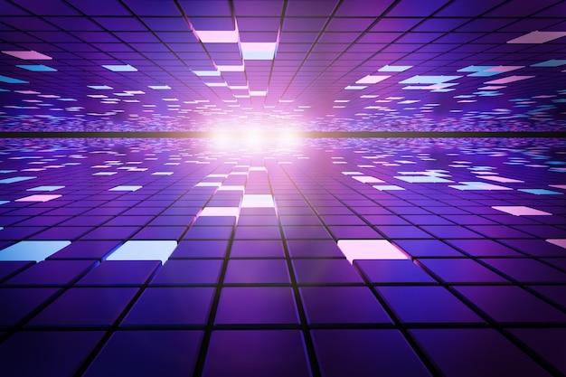 Tecnologie del futuro. fantastico sfondo astratto di cubi e pannelli luminosi. computer. illustrazione 3d.